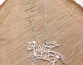 Unicorn Necklace, origami, horse, silver, geometric, animal, love, romantic