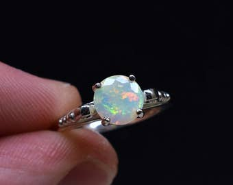 Opal Ring, Authentic Opal, Fire Opal Ring, Rainbow Opal, Clear Gemstone, Wedding Jewelry, White Opal Ring, Round Solitaire, Art Deco Jewelry