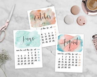 2017 Calendar Printable Watercolor Calendar 5x7 Desk Calendar Mini Calendar Colorful Monthly Calendar Office Decor Instant Digital Download