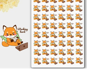 Working Stickers,Working Hard,Foxy Laptop,Kawaii Animal,Planner Stickers,Work Animal,Kawaii Stickers,Kawaii Animal,Fox Sticker