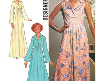 70s Simplicity 7794 Princess Seamed Evening Maxi Dress in Two Lengths, Uncut, Factory Folded Vintage Sewing Pattern Size 10 Bust 32.5""