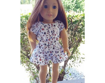 18 inch doll clothing - starry eyed peasant romper