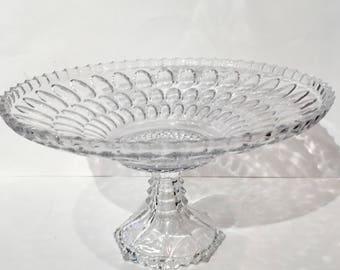 Soga Glass Console Bowl, Vintage Soga Japanese Crystal Centerpiece Bowl, Soga Japan Pedestal Serving Bowl, Large Glass Pedestal Fruit Bowl