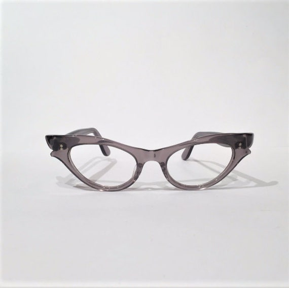 Gray Lucite Cat Eye Glasses Frames NOS Grey Pointy Double