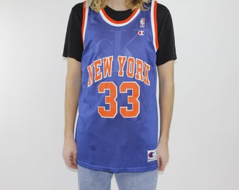 Vintage 90s New York Knicks NBA Patrick EWING #33 Champion Basketball Jersey - Made In USA - Size Large 44