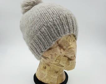 Fitted Beanie, Hand Knit Hat, Pom Pom Beanie, Ash Beanie, Light Grey Beanie, Winter Hat, Hat for Women, Alpaca Hat, Wool Hat, Gray Beanie