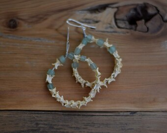 Snake Spine Hoop Earrings - Green Aventurine - Vulture Culture - Bone Jewelry - Bone Earrings - Natural Stone Beads
