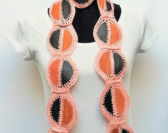 Skinny Leather Scarf / Belt / Sash / Head Wrap- Crocheted Patchwork, One Of A Kind