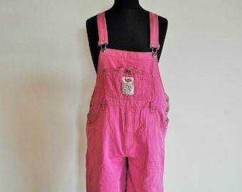 Vintage Denim Overalls / Medium / Onepiece / One Piece / M / Romper / Jumpsuit / PINK / Shorts / Short