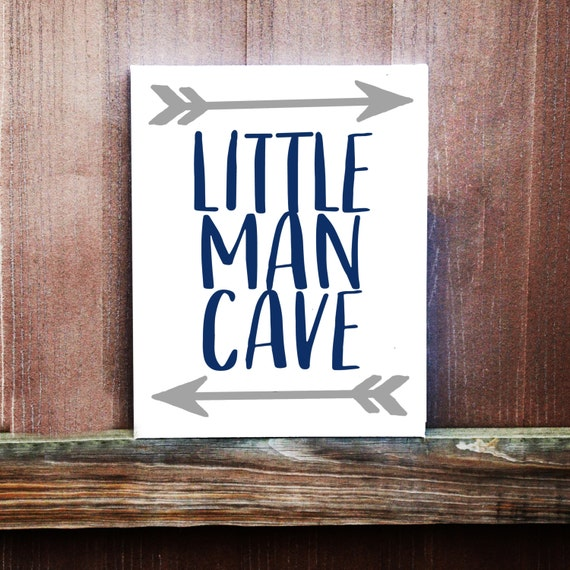 Man Cave Baby Room : Little man cave sign baby boy nursery decor hand