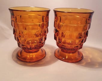 FOSTORIA AMBER  TUMBLERS Americam Juice Glasses Vintage Retro Brown Footed Tumbler 1960's Whitehall Gold set of 2