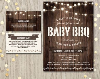 Baby BBQ shower, backyard baby-Q, couples co-ed baby shower invitation card, baby boy girl barbecue, gender neutral, a baby is brewing, PDF