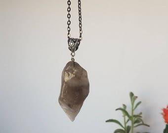 Raw smokey Quartz necklace