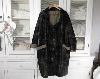 Manteau de velours noir et beige chiné