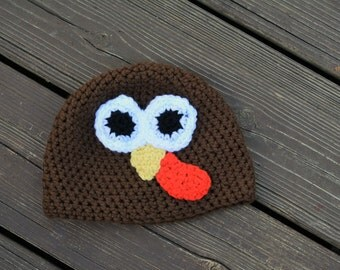 Thanksgiving Hat – Turkey Hat – Crocheted Baby's Thanksgiving – Crocheted Turkey – Baby's Thanksgiving – Fall Baby Photo Prop – Fall Beanie