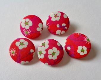 Liberty Buttons | Pink Liberty Fabric Button | Cherry Blossom Button | 22mm Shank Button
