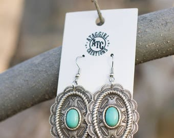 Concho Earrings with Cabochons