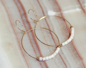 Brass Hoops with Bone and Brass Beads