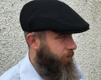 Traditional Irish Flat cap - Black - Irish tweed - 100% wool -with ear flaps - ready for shipping - HANDMADE IN IRELAND