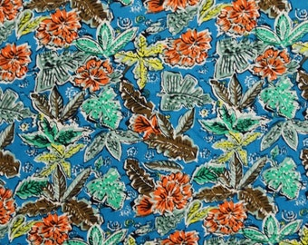 "Designer Fabric, Blue Fabric, Floral Print, Apparel Fabric, Dress Material, Sewing Craft, 41"" Inch Cotton Fabric By The Yard ZBC5630"