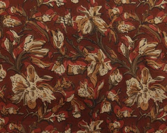 """Decorative Fabric, Floral Print, Craft Fabric, Brown Fabric, Sewing Accessories, 50"""" Inch Rayon Fabric By The Yard ZBR427A"""