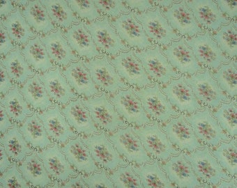 "Floral Print Chiffon Fabric, Light Green Fabric, Dress Material, Ethnic Fabric, 42"" Inch Designer Fabric By The Yard ZBCH97A"