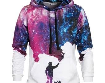 Painting Hoodie - colorful allover print galaxy hoodie by Bittersweet Paris