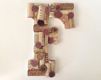 Custom Wine Cork Wall Art - Wine Gifts - Wine Cork Art - Wine Decor - Upcycled Home Decor - Monogram Letter Wall Decor - Housewarming Gift