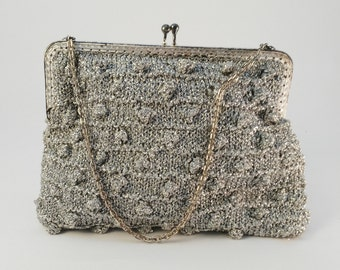 Silver Evening Bag  - Silver Party Bag - Vintage Lurex Bag -  Vintage Wedding Bag - Gift Lady Her  - Swinging 60s Bag - Boho Evening Bag