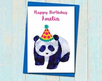 Personalised panda birthday card, Party hat panda card, Childrens animal birthday card, Personalised baby birthday card , Cute panda card