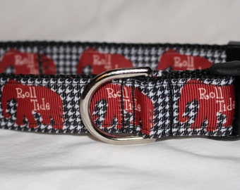 """University of Alabama Dog Collar - Side Release Buckle (1"""" Width) - Martingale Option Available"""