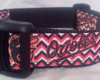 """Baltimore Orioles Dog Collar - Side Release Buckle (1"""" Width) Martingale Style Available"""