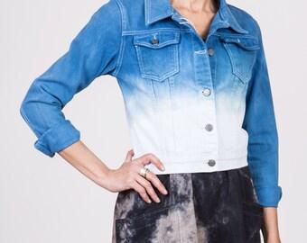 Indigo Hand Dyed Ombre Denim Jacket / Cropped Dip Dye Denim Jacket / Ethereal Top