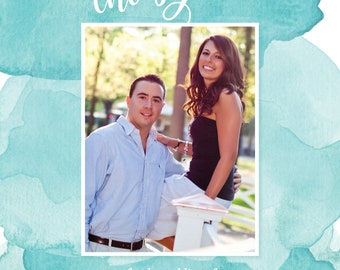 Watercolor Save the Date - Teal - Turquoise - Aqua - with photo!