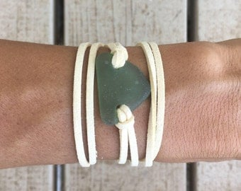 Green Sea Glass and Beige Leather Bracelet Wrap