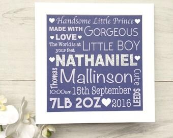 Personalised Newborn Gift Print, New Baby Gift, New Baby, Baby, Baby Print, Christening Gift, Nursery Print, New Boy Gift, Baby Room Print,