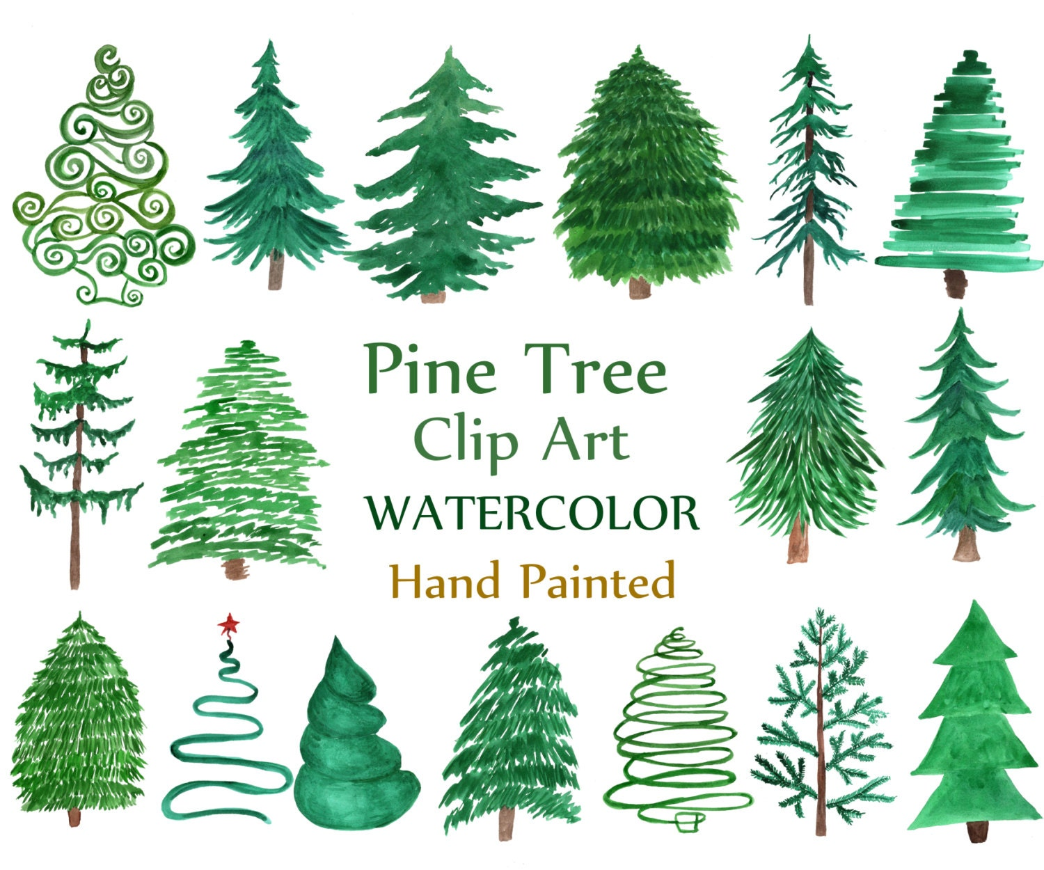 Wedding Tree Watercolor Clipart: Watercolor Pine Trees Clipart: CHRISTMAS TREE