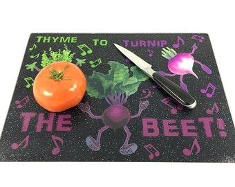 Glass Cutting Board Thyme to Turnip the Beet Kitchen Decor - Cutting Board Kitchen Decor - Kitchen Art Decor Cutting Board - Vegetable Decor