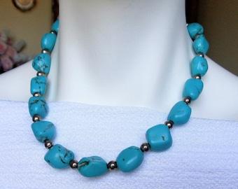 Vintage 925 Sterling Silver Turquoise Necklace, Blue Turquoise Chunky Beads Gemstone Sterling Necklace,  CH GSJ Designer Signed Necklace