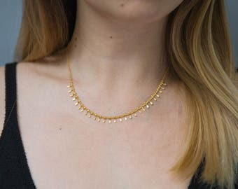 Gold Statement Choker Layering Necklace