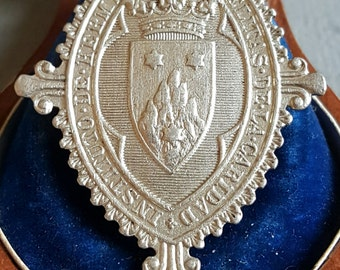 Antique Catalan Silver Communion Medal Art Nouveau Engraved Initials CC May 23, 1912 Spanish Religious Medal Catholic Carmelite Medal