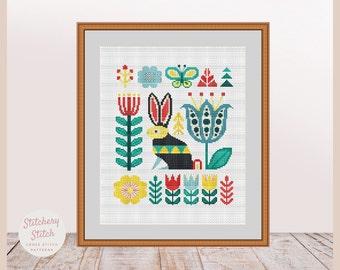 Rabbit cross stitch, Rabbit embroidery, Rabbit pattern, Primitive rabbit, Folk art rabbit, Folk rabbit, Primitive folk art, Cross stitch PDF