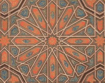 1868 Antique Moresque Arts Print Owen Jones Art Nouveau Ornamental Lithograph Grammar of Ornament