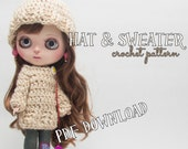 Crochet PATTERN - Blythe doll clothes, hat and sweater, beanie, pullover, intermediate crocheter, crochet pattern, blythe doll clothes, DIY