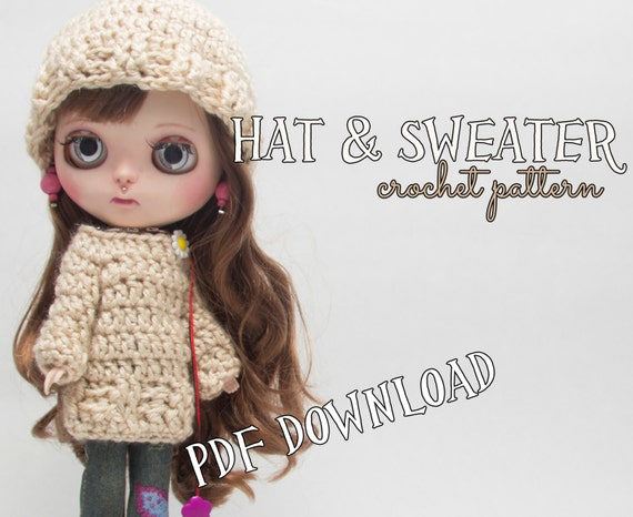 Crochet PATTERN Blythe doll clothes hat and sweater