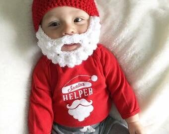 Crochet Santa Beard Hat | baby Santa hat, santa beard hat, santa beanie, santa beard beanie, Christmas baby hat, Christmas beard hat