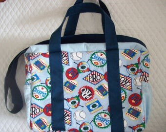 Diaper bag boys in sports print, Baby shower gift,Flannel fabric,with Zipper to close.Has Handle top and shoulder strap.