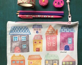 Houses illustration, Village, Pencil case, Cosmetic bag, Pencil pouch, Zipper pouch, Teacher gift, Girl gift, Pencil zipper bag