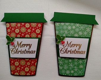 Christmas Gift Card Holder – Set of Two Coffee Cups; Coffee Cup; Gift Card holder; Christmas Gift Card