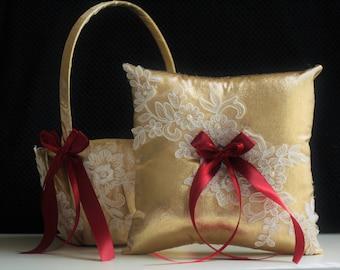 Gold Wedding Baskets, Burgundy Ring Bearer, Gold Flower Girl Basket, Burgundy Wedding Basket pillows Set, Lace Gold Bearer, Gold Ring Pillow